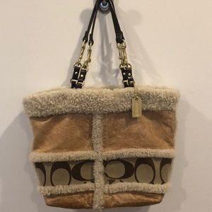 COACH • Whiskey Leather & Shearling Signature Tote